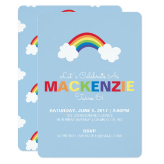 Whimsical Rainbow Birthday Party Invitation