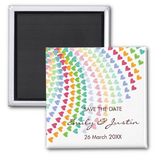 Whimsical Rainbow Heart Sprinkles Save The Date Square Magnet