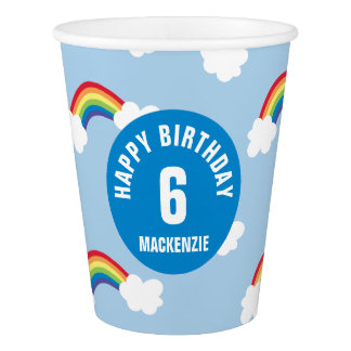 Whimsical Rainbow Personalized Birthday Party Cups