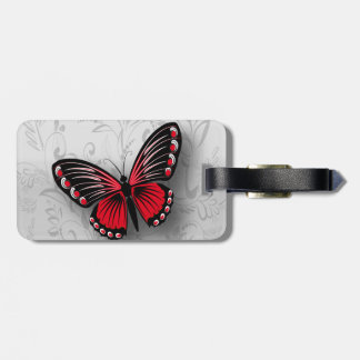 Whimsical Red Butterfly on Gray Floral Luggage Tag