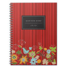 Whimsical Red Floral Garden & Bird Custom Notebook