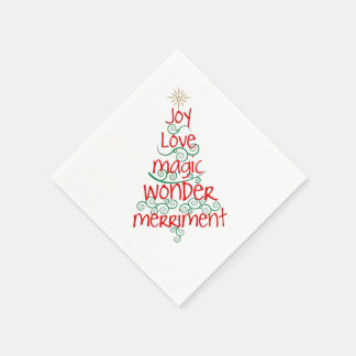 Whimsical Red & Green Typography Christmas Tree Disposable Serviette