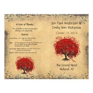 Whimsical Red Heart Leaf Tree Wedding Program 21.5 Cm X 28 Cm Flyer