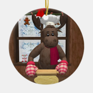 Whimsical Reindeer Chef Christmas Ornament