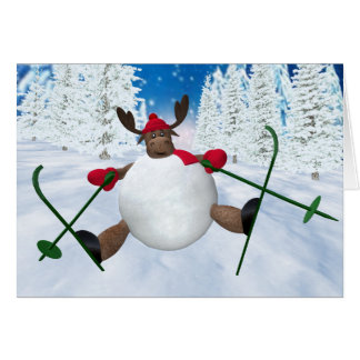 Whimsical Reindeer: Clumsy Skier Greeting Card