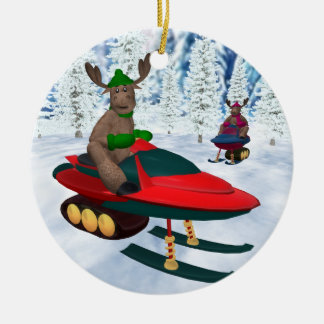 Whimsical Reindeer on Snowmobiles Christmas Ornament