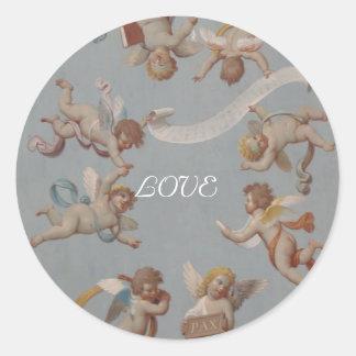 Whimsical Renaissance Cherubs Round Sticker