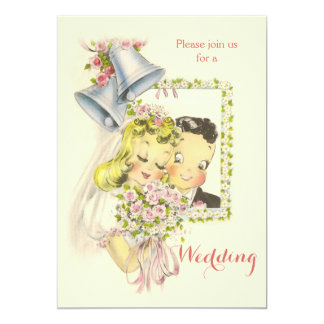 Whimsical Retro Bride and Groom Wedding Card