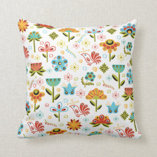 Whimsical Retro Flowers and Birds Throw Pillow
