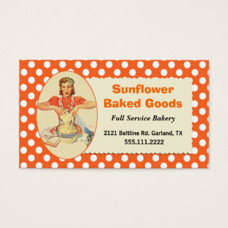 Whimsical Retro Polka Dot Bakery Business Card