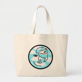 Whimsical Retro Stewardess Large Tote Bag