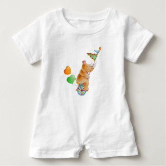 Whimsical rhinoceros animal circus watercolor baby bodysuit