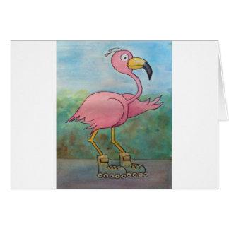 Whimsical Roller Skating Roller Blading Flamingo Card
