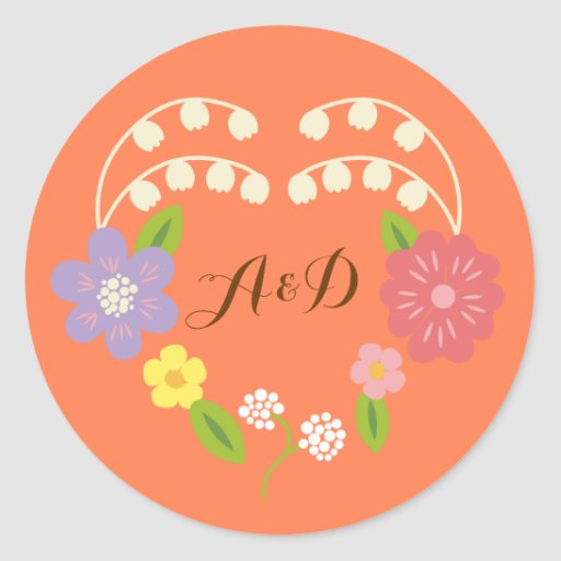 Whimsical Rustic Flower Heart Coral Wedding Favor Round Sticker