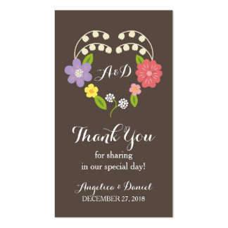 Whimsical Rustic Flowers Thank You Favor Tag Double-Sided Standard Business Cards (Pack Of 100)