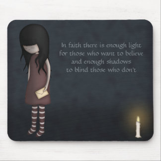 Whimsical Sad, Melancholy Young Girl with a Candle Mouse Mat