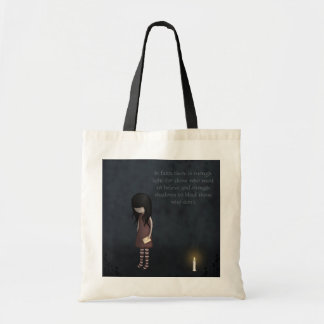 Whimsical Sad, Melancholy Young Girl with a Candle Tote Bag