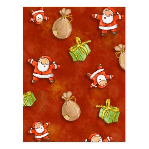 whimsical santa and presents pattern post card