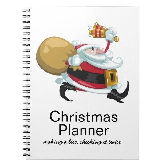 Whimsical Santa Christmas Planner Spiral Note Books