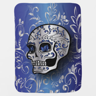 Whimsical sapphire blue and silver skull baby blanket
