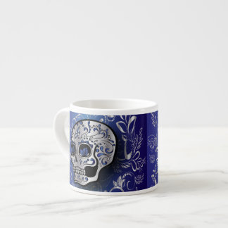 Whimsical sapphire blue and silver skull espresso cup