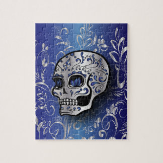 Whimsical sapphire blue and silver skull jigsaw puzzle