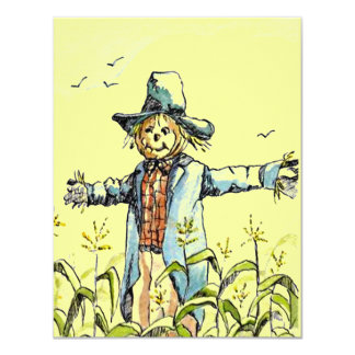 "WHIMSICAL SCARECROW Corn Maze PARTY INVITATION 4.25"" X 5.5"" Invitation Card"