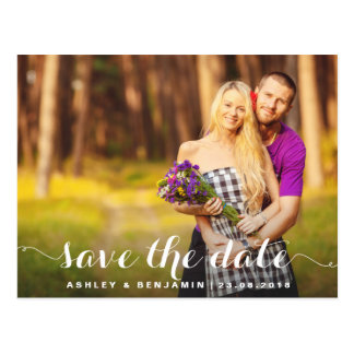 Whimsical Script Photo Save the Date Postcard