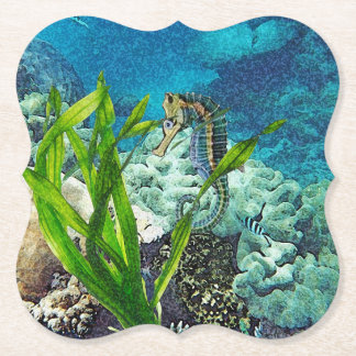 Whimsical Seahorse Paper Coaster