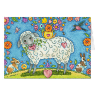 Whimsical SHEEP AND POSIES NOTE CARD Blank
