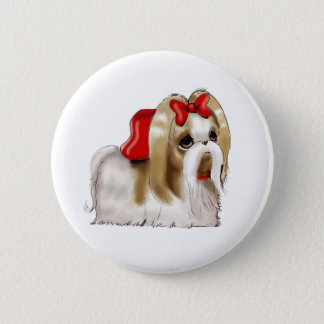 whimsical SHIH TZU DOG 6 Cm Round Badge