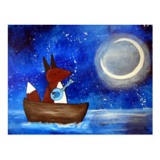 Whimsical Singing Fox Art Boat Blue Kids Cute Postcard
