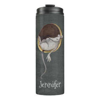 Whimsical Sleeping Mouse Illustration with Name Thermal Tumbler