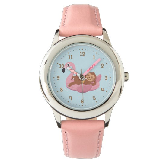 Whimsical Sloth On Pink Flamingo Float Girls Watch