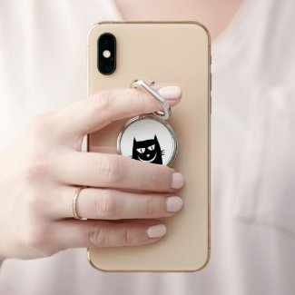 Whimsical Smiling Black Cat Phone Ring Stand
