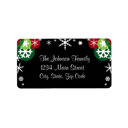 Whimsical Snowflake Holiday address label