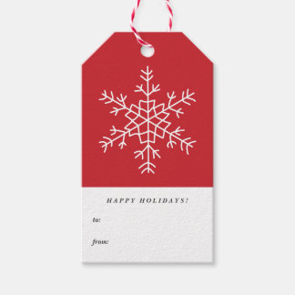 Whimsical Snowflakes Red Happy Holidays Gift Tags