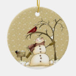Whimsical Snowman and Red Bird Christmas Ornam Round Ceramic Decoration