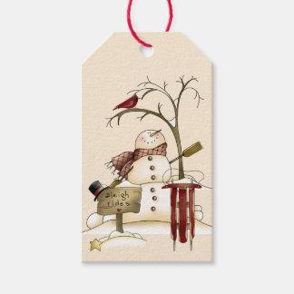 Whimsical Snowman Cardinal Sleigh Snow Tree Gift Tags