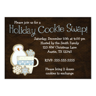 Whimsical Snowman Holiday Cookie Swap Invitations