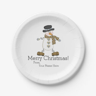 Whimsical Snowman Merry Christmas Paper Plate 7 Inch Paper Plate