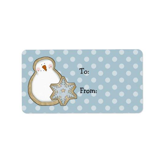 Whimsical Snowman Polka Dot Christmas Gift Tags Address Label