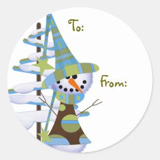 Whimsical Snowmen Gift labels