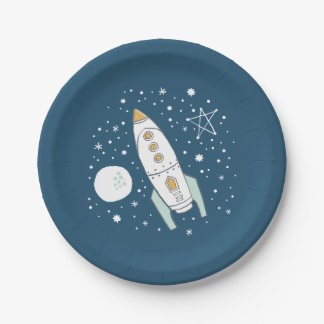Whimsical Space Blue Birthday Paper Plates 7 Inch Paper Plate