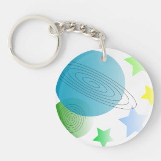 Whimsical Space Double-Sided Round Acrylic Key Ring
