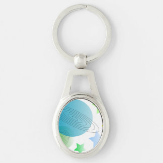 Whimsical Space Silver-Colored Oval Key Ring