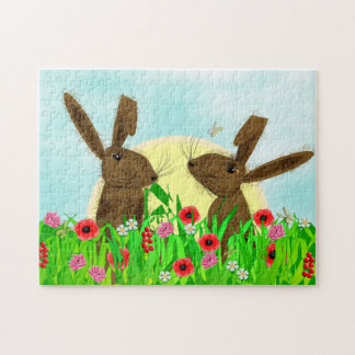 Whimsical Spring Flowers And March Hares Jigsaw Puzzle