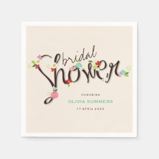 Whimsical Spring Flowers Chic Bridal Shower Party Disposable Serviette