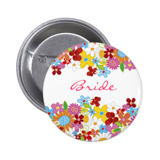 Whimsical Spring Flowers Garden BRIDE Name Tag 6 Cm Round Badge