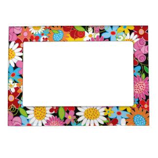 Whimsical Spring Flowers Garden Floral Frame Frame Magnet